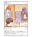 1girl 2boys bangs black_hair bow bowtie brown_jacket brown_skirt closed_eyes commentary_request couch covering_mouth fake_screenshot glasses hands_up instagram jacket kaneki_ken kirishima_touka multiple_boys nishio_nishiki orange_hair paper pleated_skirt purple_hair red_bow red_bowtie red_neckwear short_hair sitting skirt table tokyo_ghoul toukaairab translation_request watch watch white_background