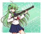 1girl ahoge assault_rifle bangs blue_serafuku blue_skirt blush border breasts character_name commentary_request eyebrows_visible_through_hair finger_on_trigger frog_hair_ornament green_background green_eyes green_hair gun hair_ornament highres holding holding_gun holding_weapon kochiya_sanae large_breasts long_hair long_sleeves looking_at_viewer pleated_skirt red_neckwear rifle school_uniform serafuku shiny shiny_hair shirt shitacemayo skirt smile snake_hair_ornament solo sparkle standing star_(symbol) thighs touhou twitter_username weapon white_shirt
