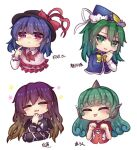 4girls bangs blush bow breasts closed_eyes cross-laced_clothes curly_hair dark_blue_hair eyebrows_visible_through_hair finger_to_mouth flower frilled_shirt_collar frills gradient_hair green_eyes green_hair hair_between_eyes happy hat hat_bow hat_ribbon highres hijiri_byakuren kariyushi_shirt komano_aunn large_breasts long_hair long_sleeves mima_(touhou) multicolored_hair multiple_girls nagae_iku open_mouth pink_shirt purple_hair red_bow red_eyes red_shirt ribbon shirt short_hair short_sleeves simple_background sweatdrop tongue tongue_out touhou translation_request unime_seaflower upper_body white_background witch_hat yellow_neckwear