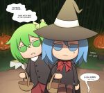 2girls alternate_costume anger_vein bangs basket black_dress blue_eyes blue_hair buttons candy chocolate cirno daiyousei dark dress english_commentary english_text fairy_wings fangs food fumo_(doll) green_eyes green_hair halloween halloween_costume hat hat_ribbon highres holding jack-o'-lantern long_sleeves mata_(matasoup) multiple_girls red_neckwear ribbon short_hair side_ponytail smile standing touhou trick_or_treat wings witch_hat