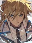 1boy blonde_hair blue_eyes electricity grey_background guilty_gear guilty_gear_xrd hair_between_eyes highres jacket ky_kiske lightning long_hair looking_at_viewer male_focus ponytail profile serious shaded_face shirt simple_background tied_hair uncle_rabbit_ii white_jacket white_shirt