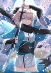 1girl ahoge arm_up bangs black_bow black_scarf black_sleeves blonde_hair bow cherry_blossoms commentary_request detached_sleeves eyebrows_visible_through_hair fate/grand_order fate_(series) flower green_eyes hair_between_eyes hair_bow half_updo haori highres holding holding_sheath holding_sword holding_weapon in_water japanese_clothes katana kimono koha-ace looking_at_viewer moon night night_sky obi okita_souji_(fate) okita_souji_(koha/ace) open_clothes outdoors partially_submerged petals pink_flower ponytail sakurasakimasu4 sash scarf serious sheath sheathed shinsengumi short_hair short_ponytail sky sleeveless sleeveless_kimono solo sword thighs water weapon white_kimono wide_sleeves