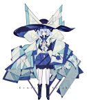 1girl absurdres adapted_costume blue_eyes boots bow buttons cubism geometric_pattern grey_hair harano_kaguyama hat hat_bow heart highres knee_boots komeiji_koishi large_bow large_hat looking_at_viewer miniskirt short_hair skirt smile solo standing third_eye touhou very_long_sleeves white_background wide_sleeves