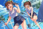 2girls :d ;d ahoge bangs barefoot blue_eyes blue_skirt blue_sky bralines broom brown_hair bucket clouds cloudy_sky commentary day dress_shirt drill_hair dutch_angle empty_pool fence green_ribbon hair_ribbon half-closed_eye holding holding_broom holding_hose hose idolmaster idolmaster_million_live! kamille_(vcx68) leaning_forward leg_up looking_at_another looking_back medium_hair miniskirt multiple_girls one_eye_closed open_mouth outdoors plaid plaid_skirt pleated_skirt ponytail pool ribbon running satake_minako school school_uniform shirt short_sleeves side_drill side_ponytail skirt sky smile spraying standing standing_on_one_leg water wet wet_clothes wet_shirt white_shirt yokoyama_nao