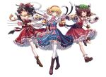 3girls ;d alice_margatroid animal_ears bell between_fingers blonde_hair blue_dress blue_eyes bow brown_hair cat_ears cat_tail chen commentary_request doll dress full_body hair_bow hair_tubes hakurei_reimu hourai_doll jingle_bell long_hair long_sleeves mashir0 multiple_girls multiple_tails needle nekomata nontraditional_miko one_eye_closed open_mouth red_bow red_dress red_skirt red_vest scarf shanghai_doll short_hair simple_background skirt smile standing string tail thigh_strap touhou two_tails vest white_background yellow_scarf