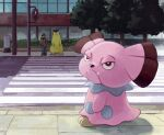 1boy bright_pupils brown_coat brown_eyes building closed_mouth coat commentary_request crosswalk day fangs fangs_out highres outdoors pants pokemon pokemon_(creature) shoes snubbull standing traffic_light tree typhlosion uninori white_pupils window