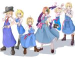 6+girls ahoge alice_margatroid arrow_(symbol) bangs black_footwear black_headwear blonde_hair blue_dress blue_eyes bois_de_justice boots bow bowtie breasts capelet cigarette closed_eyes closed_mouth collared_capelet commentary_request cookie_(touhou) corruption cross-laced_footwear crossed_arms dies_irae dress eyebrows_visible_through_hair fedora frilled_capelet frilled_dress frilled_hairband frilled_neckwear frilled_sash frills full_body gaba_physics green_hair hair_between_eyes hair_over_eyes hairband hat heterochromia highres hinase_(cookie) hyper_muteki_(artist) ichigo_(cookie) jigen_(cookie) jumping light_brown_hair long_dress looking_at_viewer medium_breasts multiple_girls necktie open_mouth pink_hairband pink_necktie pink_sash platform_footwear red_bow red_bowtie red_hairband red_necktie red_sash sakuranbou_(cookie) sash shinza_bansho_series short_hair small_breasts smile smoke socks standing stuffed_animal stuffed_bunny stuffed_toy taisa_(cookie) touhou web_(cookie) white_capelet white_legwear yellow_bow yellow_eyes