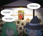 3girls :/ alternate_costume bangs basket black_dress blood blue_eyes blue_hair buttons cirno daiyousei dark door dress english_commentary english_text fairy fairy_wings fangs full_body fumo_(doll) green_eyes green_hair halloween halloween_costume hat hat_ribbon highres holding house ice ice_wings jack-o'-lantern kazami_yuuka long_sleeves mata_(matasoup) monster motion_lines multiple_girls open_mouth red_eyes red_neckwear red_skirt red_vest ribbon short_hair side_ponytail skirt standing touhou trick_or_treat vest wings witch_hat
