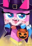 1girl alternate_costume artist_name blue_eyes capelet cat fang halloween halloween_bucket halloween_costume hat heart heart-shaped_pupils karasuma234 lego looking_at_viewer open_clothes open_mouth princess_unikitty pumpkin sexually_suggestive skull_print solo sweat sweating_profusely symbol-shaped_pupils tail the_lego_group the_lego_movie tongue tongue_out witch witch_hat