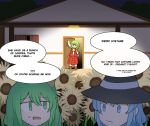 3girls :/ alternate_costume bangs basket black_dress blue_eyes blue_hair buttons cirno daiyousei dark door dress english_commentary english_text fairy fairy_wings fangs full_body green_eyes green_hair halloween halloween_costume hat hat_ribbon highres holding house ice ice_wings jack-o'-lantern kazami_yuuka long_sleeves mata_(matasoup) multiple_girls open_mouth red_eyes red_neckwear red_skirt red_vest ribbon short_hair side_ponytail skirt standing touhou trick_or_treat vest wings witch_hat