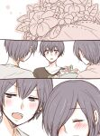 1girl 2boys :o bangs blush bouquet brother_and_sister brown_shirt closed_eyes collarbone commentary_request eyebrows_visible_through_hair family father_and_daughter father_and_son flower hair_over_one_eye holding holding_bouquet kirishima_arata kirishima_ayato kirishima_touka multiple_boys shirt short_hair siblings simple_background teeth tokyo_ghoul toukaairab upper_teeth white_background