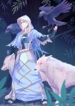 1boy 4others animal animal_on_shoulder armor belt bird bird_on_shoulder blue_hair capelet closed_mouth crow cu_chulainn_(caster)_(fate) cu_chulainn_(fate) dog elbow_gloves fate/grand_order fate_(series) fingerless_gloves flying full_body fur-trimmed_hood fur_trim gloves greaves highres hood hooded_capelet long_hair male_focus multiple_others red_eyes smile standing toeless_footwear tree white_wolf xx_(pekepeke) yellow_eyes