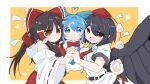 3girls ahoge ascot bangs belt bird_wings black_hair blue_bow blue_eyes blue_hair blush border bow breasts brown_eyes brown_hair cirno cirno_day collared_shirt commentary_request dress eyebrows_visible_through_hair eyes_visible_through_hair fairy feathered_wings hair_bow hakurei_reimu hat heart heart_ahoge highres holding_hands ice ice_wings large_breasts long_hair long_sleeves looking_at_viewer multiple_girls necktie open_mouth pinafore_dress pom_pom_(clothes) puffy_short_sleeves puffy_sleeves red_bow red_eyes red_neckwear red_vest ribbon-trimmed_sleeves ribbon_trim sarashi shameimaru_aya shirt short_hair short_sleeves simple_background tatutaniyuuto teeth tokin_hat touhou upper_body upper_teeth vest white_shirt wide_sleeves wing_collar wings yellow_background yellow_neckwear