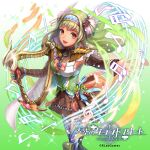 1girl :d beamed_sixteenth_notes blue_legwear breasts brown_eyes brown_skirt company_name copyright_name eighth_note etra_(tenkuu_no_craft_fleet) food fruit glint gradient gradient_background green_background green_hair hair_ornament hairband harp instrument long_hair long_sleeves muraicchi_(momocchi) music musical_note official_art outstretched_arm playing_instrument quarter_note skirt small_breasts smile solo standing tenkuu_no_craft_fleet thigh-highs