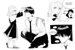 1boy 1girl 4ofo1nf43kuvxkl backpack bag bangs caren_hortensia fate/hollow_ataraxia fate/stay_night fate_(series) father_and_daughter formal greyscale habit head_wreath korean_text kotomine_kirei monochrome necktie simple_background squatting suit translation_request white_background younger