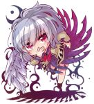 1girl \  / angel_wings bangs beige_jacket bent_over blush boots bow bowtie braid breasts brown_footwear collared_dress commentary_request dress feathered_wings french_braid full_body hand_on_hip hand_on_own_face kishin_sagume long_sleeves looking_at_viewer medium_breasts purple_dress red_bow red_bowtie red_eyes red_neckwear short_hair silver_hair simple_background single_wing slit_pupils solo thighs touhou unime_seaflower white_background wing_collar wings