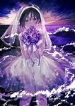 1girl achiki black_hair blush bouquet bridal_veil clouds commentary_request dress dutch_angle flower grin hands_up highres holding holding_bouquet horizon looking_at_viewer ocean original outdoors purple_ribbon ribbon rose see-through see-through_sleeves short_hair smile solo veil wading water wedding_dress white_dress