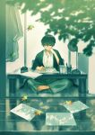 1boy absurdres barefoot black_hair black_kimono blurry blurry_foreground branch closed_mouth commentary_request crossed_legs desk_lamp falling_leaves full_body gloves head_rest highres inkwell japanese_clothes kimono lamp leaf male_focus on_floor original papers pen short_hair sitting solo table toes white_kimono yog_harukawa