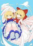 2girls ahoge angel_wings apron bangs blonde_hair blue_dress blue_footwear blue_sky blush bow breasts carrying commentary_request dress eyebrows_visible_through_hair feathered_wings feathers flying frilled_dress frills gengetsu_(touhou) hair_bow highres long_sleeves looking_at_viewer maid maid_apron maid_headdress medium_breasts mugetsu_(touhou) multiple_girls open_mouth pink_dress princess_carry puffy_short_sleeves puffy_sleeves red_bow red_neckwear red_ribbon ribbon short_hair short_sleeves siblings sisters sky smile socks sweatdrop tatutaniyuuto touhou touhou_(pc-98) white_legwear wings wrist_cuffs yellow_eyes