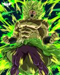 1boy abs angry bare_shoulders batmandrewart broly_(dragon_ball_super) clenched_hand commentary dragon_ball dragon_ball_super dragon_ball_super_broly energy fur_trim green_hair highres long_hair male_focus nipples no_pupils open_mouth pants pectorals pink_eyes scar scar_on_chest shouting solo spiky_hair topless_male
