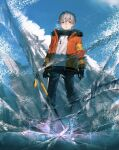 1boy black_gloves black_pants black_scarf blue_eyes blue_footwear blue_sky blush boots commentary crack day english_commentary from_below full_body fur-trimmed_jacket fur_trim gloves grey_hair highres ice ice_pick ishida_(segu_ishida) jacket looking_at_viewer male_focus orange_jacket original outdoors pants parted_lips scarf short_hair sky solo sweater white_sweater winter_clothes