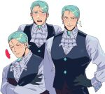 1boy ace_attorney ascot bangs black_vest blush collage commentary_request cropped_torso franziska_von_karma genderswap genderswap_(ftm) green_(grimy) green_hair grey_shirt highres looking_at_viewer male_focus mole mole_under_eye pectorals shirt short_hair sideburns swept_bangs toned toned_male translation_request undershirt vest white_background
