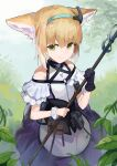 1girl animal_ear_fluff animal_ears apron arknights bangs bare_shoulders black_gloves blue_hairband brown_hair closed_mouth commentary_request day edowa fox_ears gloves green_eyes hair_between_eyes hairband highres holding looking_at_viewer multicolored_hair outdoors purple_skirt shirt single_glove skirt smile solo suzuran_(arknights) two-tone_hair waist_apron white_apron white_hair white_shirt