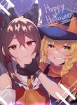 2girls :t adapted_costume animal_ears ascot bangs bare_shoulders blonde_hair blue_background blurry blurry_background blush bow braid brown_hair cat_ears closed_mouth commentary detached_sleeves eyebrows_behind_hair fake_animal_ears fang fang_out frilled_bow frills grin hair_between_eyes hair_tubes hakurei_reimu halloween hat hat_bow highres kirisame_marisa light_particles long_hair looking_at_viewer majime_joe multiple_girls orange_bow orange_neckwear puffy_short_sleeves puffy_sleeves red_eyes short_sleeves side_braid silk simple_background single_braid skin_fang smile spider_web symbol-only_commentary touhou turtleneck upper_body witch_hat yellow_eyes