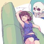 ... bangs bare_shoulders bow_shirt brown_hair closed_eyes couch frisk_(undertale) lying open_mouth purple_shirt purple_shorts sans shirt short_hair short_shorts shorts skeleton sleeping sleeveless speech_bubble tenya_mizuki undertale white_background