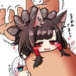 1boy 2girls akagi_(azur_lane) akaoni_(zumt3548) animal_ears azur_lane black_hair blush blush_visible_through_hair commander_(azur_lane) fox_ears fox_tail multiple_girls shoukaku_(azur_lane) tail