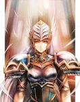 armor blue_armor blue_eyes feathers gold_trim helmet highres lenneth_valkyrie looking_at_viewer portrait shoulder_armor silver_hair solo_focus sushi_(sashimise) valkyrie valkyrie_profile winged_helmet