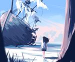 1girl barefoot beach black_hair highres long_hair ocean original outdoors pink_clouds sand scenery ship shipwreck shirt sky taizo4282 walking watercraft white_shirt