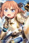 1girl ammunition armor blue_eyes blush brown_hair cosplay eyebrows_visible_through_hair fate/grand_order fate_(series) gareth_(fate) gareth_(fate)_(cosplay) gauntlets hachijou_(kancolle) highres kantai_collection lance open_mouth polearm shield short_hair solo upper_body weapon yasume_yukito