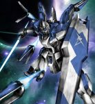 beam_saber char's_counterattack char's_counterattack_-_beltorchika's_children commentary_request double-blade emblem energy_sword fin_funnels funnels gundam hi-nu_gundam highres juya mecha mobile_suit no_humans planet science_fiction shield solo space star_(sky) sword v-fin weapon yellow_eyes