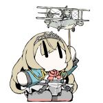 1girl aircraft airplane black_footwear blonde_hair boots chibi commentary_request corset cropped_jacket dress_shirt flower green_jacket holding jacket kantai_collection long_hair looking_up military military_uniform military_vehicle no_mouth rose shirt simple_background skirt solo stick task_(s_task80) tiara underskirt uniform victorious_(kancolle) white_background white_shirt white_skirt  _ 