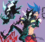 2boys angry armlock ascot belt blue_hair boots fire frills galo_thymos lio_fotia looking_at_another male_focus multiple_boys navel outline pants promare purple_background sharp_teeth short_hair sidecut soyasengoku spiky_hair teeth twitter_username