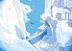 1girl absurdres angel angel_wings bird blue_sky curtains dove feathered_wings highres nara_lalana original pajamas scenery sky window wings