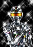 1boy absurdres armor black_background commentary_request full_armor gavan helmet highres looking_at_viewer male_focus metal_hero orange_eyes shiny shoko-tan solo sparkle superhero uchuu_keiji_gavan upper_body