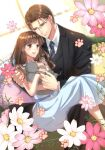 1boy 1girl animal black_suit blush brown_eyes brown_hair cat couple cover cover_page dress feet_out_of_frame flower formal hetero highres holding holding_animal holding_cat hug izumi_(stardustalone) long_hair necktie novel_cover official_art on_lap sitting smile suit
