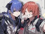 2girls :d arknights black_gloves blue_eyes blue_hair blush clenched_teeth commentary_request cross cross_necklace demon_horns detached_wings earclip energy_wings exusiai_(arknights) eyebrows_visible_through_hair fingerless_gloves fur-trimmed_hood fur_trim gloves grey_shirt grin hair_between_eyes halo highres hood hood_down horns id_card jacket jewelry long_hair looking_at_viewer mostima_(arknights) multiple_girls na_tarapisu153 necklace open_clothes open_jacket orange_eyes redhead selfie shadow shirt smile teeth upper_body w white_gloves white_jacket wings