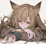 1girl animal_ears aogisa arknights arm_rest blush brown_hair brown_jacket ceobe_(arknights) closed_mouth commentary dog_ears dog_girl eyebrows_visible_through_hair eyelashes grey_background hair_between_eyes head_rest highres infection_monitor_(arknights) jacket long_hair looking_at_viewer portrait red_eyes simple_background smile solo symbol-only_commentary