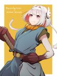1girl belt breasts character_request chrono_trigger closed_mouth cosplay crono_(chrono_trigger) headband highres looking_at_viewer pointy_ears sankon_(choko-noki) short_hair smile solo sword virtual_youtuber weapon white_hair