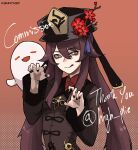 1girl artist_name bangs black_nails breasts brooch brown_hair chinese_clothes claw_pose coat collared_coat commentary commission english_commentary english_text eyebrows_visible_through_hair flower flower-shaped_pupils genshin_impact ghost hair_between_eyes hat hat_flower hat_ornament highres hu_tao_(genshin_impact) jewelry k3nnyn3v licking_lips long_hair long_sleeves looking_at_viewer plum_blossoms porkpie_hat red_background red_eyes red_flower red_shirt ring shirt sidelocks simple_background smile solo symbol-shaped_pupils talisman tassel tongue tongue_out twintails twitter_username
