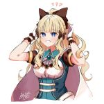 1girl absurdres bangs black_bow blonde_hair blue_eyes blush bow breasts dot_nose elf eyebrows_visible_through_hair hair_bow hair_ornament highres keinesandayoooo large_breasts long_hair looking_at_viewer open_mouth pointy_ears ponytail princess_connect! saren_(princess_connect!) smile solo
