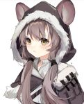 1girl animal_ears arknights bangs blush capelet commentary_request eyebrows_visible_through_hair fur-trimmed_capelet fur-trimmed_hood fur_trim grey_capelet grey_hair highres honeyberry_(arknights) hood hooded_capelet long_hair low_twintails mouse_ears parted_lips simple_background solo twintails upper_body white_background yellow_eyes yunweishukuang