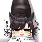 1boy 1girl akaoni_(zumt3548) animal_ears atago_(azur_lane) azur_lane black_hair blush chibi commander_(azur_lane) gloves looking_at_viewer mole mole_under_eye ribbon shoes