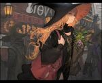 1girl 2boys bag bangs beard blonde_hair building facial_hair from_side glasses gloves hat highres jewelry long_hair looking_at_viewer morry multiple_boys necklace original paper_bag upper_body witch_hat