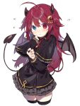 1girl absurdres ahoge bangs black_capelet black_dress black_legwear blue_eyes blush brown_wings capelet closed_mouth commentary_request crescent crescent_hair_ornament cropped_legs demon_girl demon_horns demon_tail demon_wings dress eyebrows_visible_through_hair fang fang_out flying_sweatdrops frilled_capelet frilled_dress frills hair_between_eyes hair_ornament hand_up heterochromia highres horns inu_(puputizy) long_hair long_sleeves looking_at_viewer neck_ribbon nijisanji red_eyes red_ribbon redhead ribbon simple_background sleeves_past_wrists solo tail thigh-highs two_side_up very_long_hair virtual_youtuber white_background wings yuzuki_roa