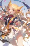 1girl :d \n/ absurdres animal_ears archetto_(arknights) archetto_(publicity_strategy)_(arknights) arknights blonde_hair blue_eyes blue_jacket blush bow bowtie confetti creature cropped_jacket double_\n/ dutch_angle fang feet_out_of_frame fingerless_gloves forehead frilled_sleeves frills gloves gradient gradient_background grey_background hair_bow heterochromia highres jacket long_hair looking_at_viewer midriff miniskirt navel official_alternate_costume red_bow red_eyes red_neckwear short_sleeves skin_fang skirt smile solo standing stomach tuzhate very_long_hair white_bow white_gloves white_skirt