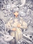 1girl angel_wings antlers bangs bow bubble bug butterfly crack crystal dress feathered_wings fishnets flower grey_eyes grey_hair halo highres leaf long_hair long_sleeves looking_at_viewer minami_(minami373916) mushroom original plant single_wing skull solo spine tentacles upper_body white_bow white_butterfly white_dress wings